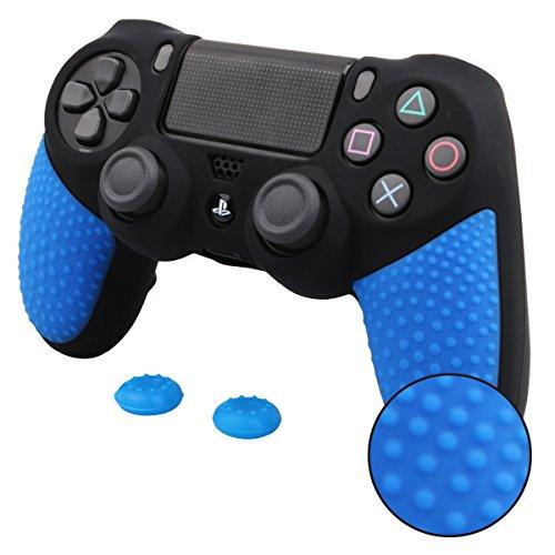 Pandaren® peau de couverture de silicone adhérence améliorée sentiment pour PS4 manette x 1 (noir + bleu) + thumb grip pouce poignée x 2