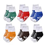 Epeius Baby Boys Non Skid Socks Like Shoes Infants and Toddlers Non-Slip Booties for 9-15 Months (Pack of...