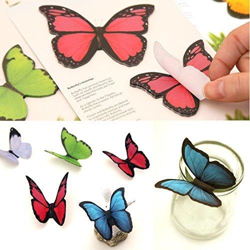 C.X.Y. Adesivo 3D Farfalla Adesivi 40 Fogli memo Pad Farfalle Coreano cancelleria, Carta, Rilievo di Nota appiccicoso Decorazione della Parete