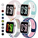 Geoumy 4 Pack Sport Band Compatible for Apple Watch Bands 38mm 40mm 42mm 44mm, Breathable Soft Silicone Band Replacement Wristband Men Women Compatible with iWatch Series 1/2/3/4/5/6 SE (E, 38SM)
