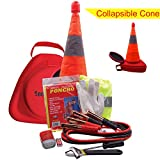 SECURITYMAN Roadside Emergency Car Kit - A Must Have Multipurpose Car Accessory - Vehicle Emergency Kit with Premium Jumper Cables, Collapsible Traffic Cone with LED Assistant Light, More