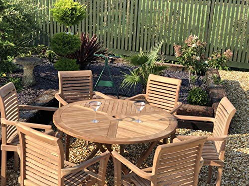 chelsea home and leisure ltd Teak Garden Furniture Folding Table With 6 Stacking chairs