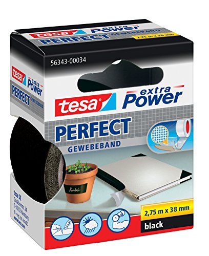 tesa® extra Power Perfect Gewebeband (2,75m x 38mm / 3er Pack, schwarz)