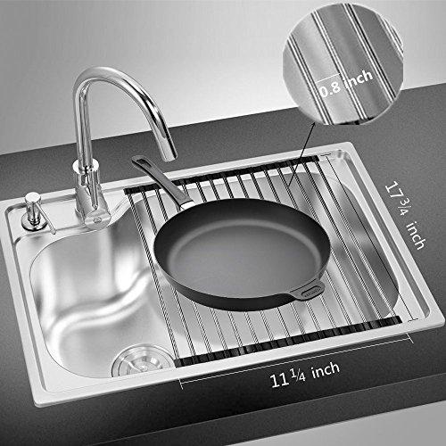 Escurreplatos enrollable sobre el fregadero, escurridor de platos enrollable, escurreplatos para fregadero de cocina, mostrador, escurridor enrollable, de acero inoxidable SUS304, 18,5 x 11 pulgadas