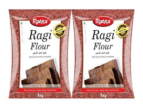 Manna Plain Ragi Flour/ Finger Millet Flour, 2kg (1kg Pack x2)
