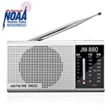 NOAA Weather Radio Portable AM FM Radio Transistor Radio Battery Operated by 2 AA Batteries, Excellent Sound Quality, Long Antenna, Perfect Size, Earphone Jack, Silver