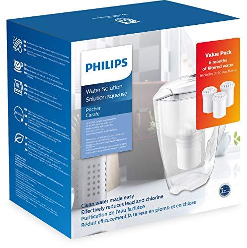 Philips Starter-Set Wasserfilter-Karaffe AWP2920 + 3 Filter-Kartuschen, gegen Kalk, Blei, Chlor, Pestizide, Mikro-Plastik, Wasser-Filter mit Mikrofiltration
