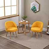 nozama 2 Pcs Modern Armchair Living Room Chairs Set of 2 Fabric Accent Chairs with Solid Wood Legs Occasional Chairs Sofa Lounge Tub Chairs Small Fireside Chair (Yellow)