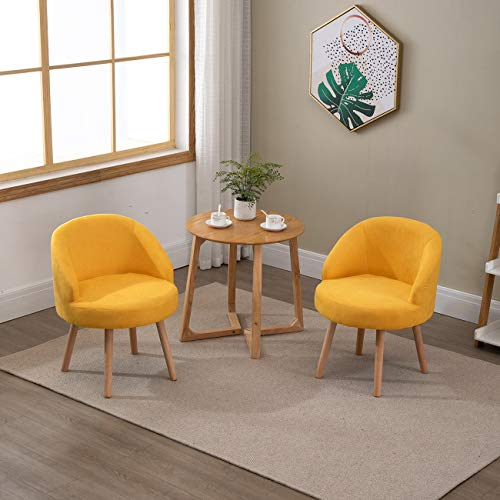 Sanery Set of 2 Modern Accent Tub Chairs Single Sofa Arm Chairs with Wood Legs for Living Room Bedroom Apartment Decor, Yellow