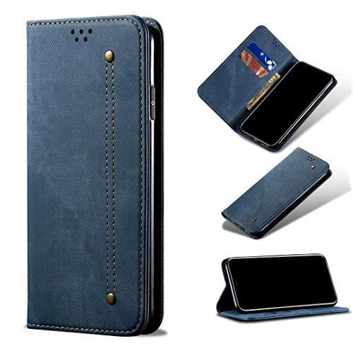 Funda para Huawei P50 Pro, 3D, a prueba de golpes, piel sintética, con absorción de golpes, con soporte magnético, soporte para tarjetas, funda protectora para Huawei P50 Pro, color azul