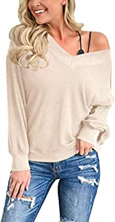 Achicday Women's V Neck Waffle Knit Top Off Shoulder Long Sleeve Loose Pullover Sweater Shirt