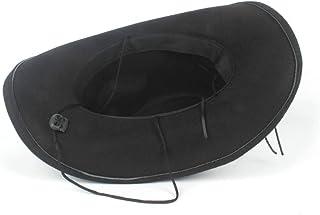 テンガロンハット ウエスタンハット メンズ 帽子 つば広 スエード調 ファッション ウール (Color : ブラック, Size : 56-59cm)