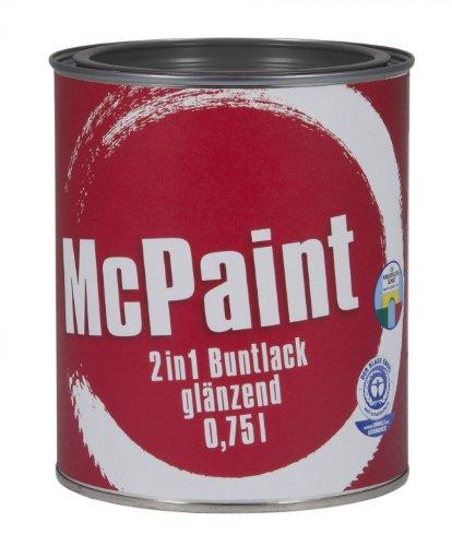 McPaint 2in1 Buntlack Grundierung und Lack in einem für Innen und Außen. PU verstärkt - speziell für Möbel und Kinderspielzeug glänzend Farbton: RAL 7016 Anthrazit 0,75 Liter - Bastellack