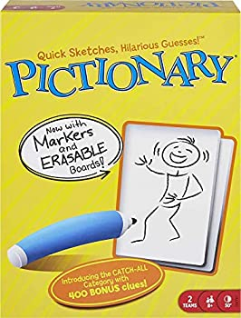 Pictionary Quick Drawing Board & Guessing Game for Family Kids Teens & Adults with Dry Erase Boards Special Markers & Clue Cards with a Unique Catch-All Category [Amazon Exclusive]