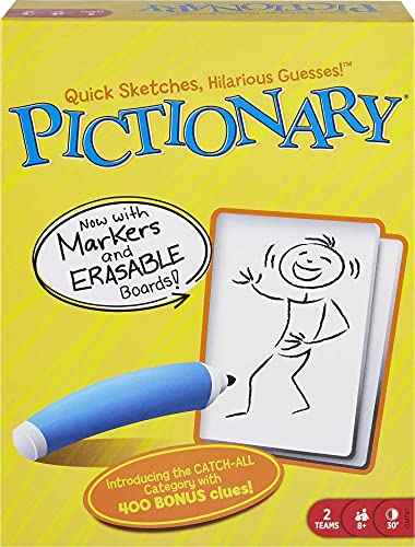 Pictionary Quick Drawing Board & Guessing Game for Family, Kids, Teens & Adults, with Dry Erase Boards, Special Markers & Clue Cards with a Unique Catch-All Category [Amazon Exclusive]