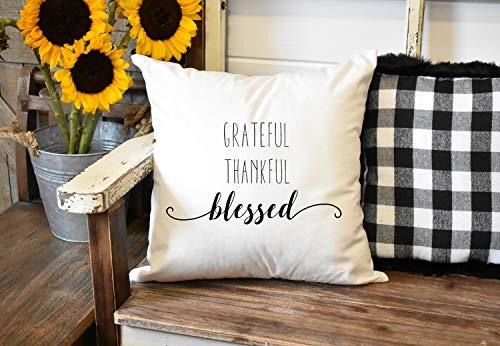 Toll2452 Grateful Thank ful Blessed - Funda de cojín (45,7 x 45,7 cm), diseño de casa de campo
