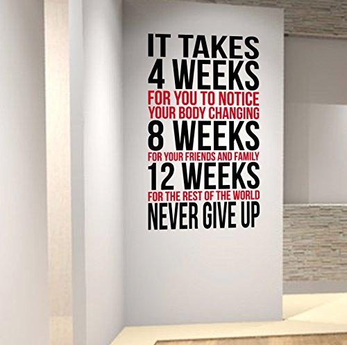 Adhesivo decorativo de pared con leyenda inspiradora para perder peso, perfecto para centros de salud y gimnasios., rojo/negro, 57cm wide x 1mtr high