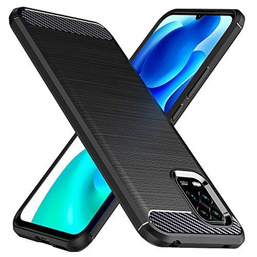 TesRank Xiaomi Mi 10 Lite 5G Hülle, Premium Weiche kohlefaser Handyhülle mit Wärmeableitungs-Design [Shock Absorption] [Anti-Slip] Kratzfest Schutzhülle Hülle für Xiaomi Mi 10 Lite 5G-Schwarz