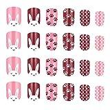 Minkissy uñas postizas de múltiples patrones para niños prensa colorida en las uñas cubierta completa kits de uñas postizas cortas para niñas (patrón 8)