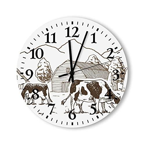 Reloj de pared de madera, moderno, funciona con pilas, 12 pulgadas, vacas pastan en el prado, relojes de pared para habitación de niños, sala de juegos, sala de estar, cocina, baño, dormitorio