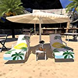 Lmeison Chaise Lounge Pool Chair Cover, Beach Towel Chair Cover with Side Pockets 2Pack for Pool, Sun Lounger, Hotel, Vacation, Holidays Sunbathing, No Sliding, Summer Coconut(84.6' x 29.5')