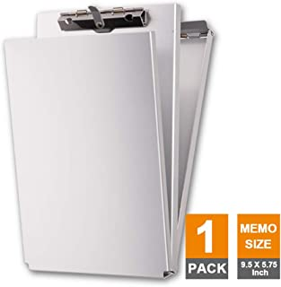 Summit Tools Dual Storage Aluminum Clipboard - Memo Size (9.5 x 5.75 Inches) Document Holder with Self Locking Latch, Form Clip, 2 Storage Compartment [1- Pack]