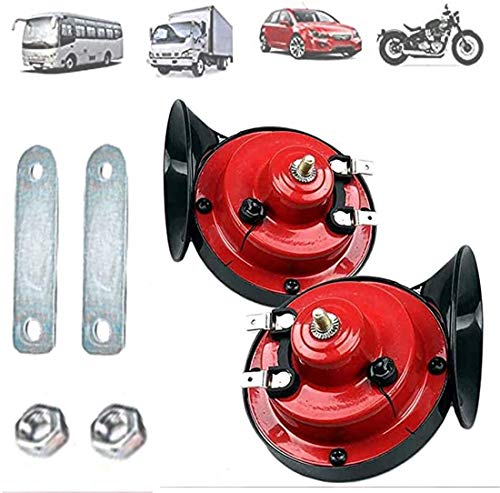 【2 Pack】 300DB Super Loud Train Horn for Truck Train Boat Car Air Electric Snail Singl0e Horn, 12v Waterproof Double Horn Raging Sound Raging Sound for Car Motorcycle