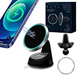 Magnetic Wireless Car Charger, 15W Qi Fast Charging [Compatible with Magsafe] [Air Vent & Dashboard] Car Phone Mount, Wireless Car Charger Holders Dock for iPhone 12/12 Pro/12 Pro Max/12 Mini