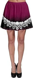 Women's Printed Skirt Gray Pattern Skulls Skater Skirt