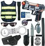 Mopoq 13pcs Policía niños Juegos de rol kit del juguete, poli del traje con reflectantes chalecos, Pistola de Juguete, esposas y otros accesorios militares for el juego de simulación, Halloween Juego