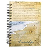 """Christian Art Gifts Large Hardcover Notebook/Journal   Footprints In The Sand Poem   Beach Inspirational Wire Bound Spiral Notebook w/192 Lined Pages, 6"""" x 8.25"""""""