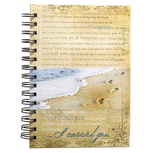 "Christian Art Gifts Large Hardcover Notebook/Journal | Footprints In The Sand Poem | Beach Inspirational Wire Bound Spiral Notebook w/192 Lined Pages, 6"" x 8.25"""