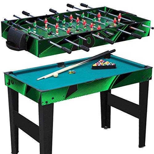 Anaterra Multigame Spieletisch 10 in 1, Kickertisch Tischfußball, Billardtisch, Tischtennis, Schach, Hockey - Multi-Spieltisch mit komplettem Zubehör