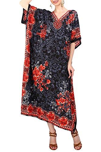 Miss Lavish London Frauen Damen Kaftan Tunika Kimono freie Größe Lange Maxi Party Kleid für Loungewear Urlaub Nachtwäsche Strand jeden Tag Kleider Schwarz EU 46-50