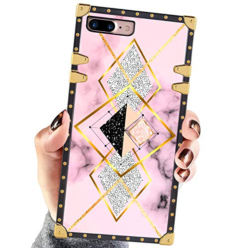 Square Case Compatible iPhone 7 Plus iPhone 8 Plus Case Geometric Pink Gold Marble Luxury Elegant Soft Shock Protection Case Cover Compatible iPhone 7 Plus/8 Plus 5.5 Inch
