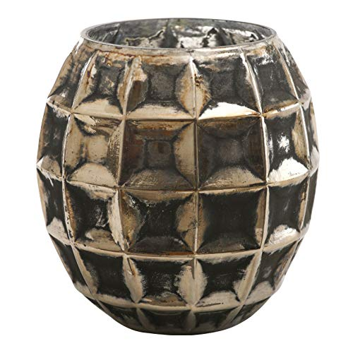 PTMD Windlicht Stormlight Teelichthalter Nala Black Silver Glas medium - Maße: 12.0 x 12 x 15.0 cm