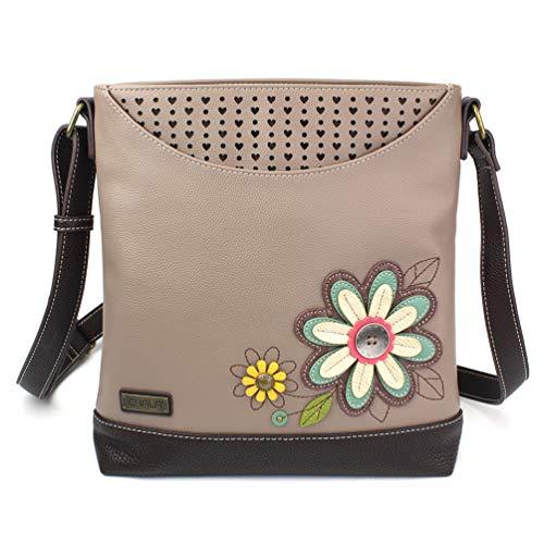 Chala Handbags Sweet Messenger Mid Size Tote Bag Daisy - Warm Gray