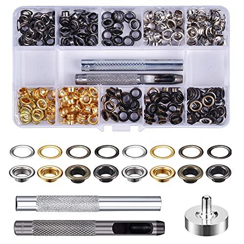 Pinsheng 200 Sets Kit de Herramienta de Ojetes, 6mm Ojales Metalicos Kit, Herramienta de Montaje de Arandela para Lona, Cuero, Toldos, DIY artesanía