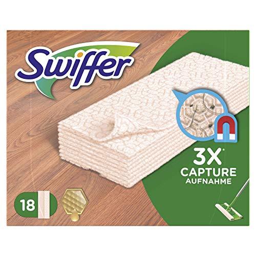 Swiffer Trockene Bodentücher für Holz & Parkett Nachfüllpackung, 6er Pack (6 x 18 Tücher)
