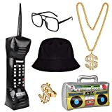 Hotusi Hip Hop Costume Kit Bucket Hat Sunglasses Inflatable Boom Box Mobile Phone Dollar Sign Gold Chain 80s/90s Party Supplies Decorations Cosplay Props