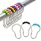 Amazer Shower Curtain Hooks Rings, Stainless Steel Shower Curtain Rings and Hooks for Bathroom Shower Rods Curtains-Set of 12, Colorful