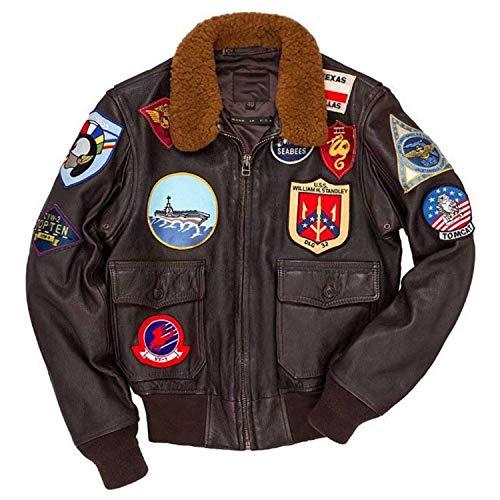 Top Gun Tom Cruise Maverick G1 Fur Bomber Real leather Jacket (xl)