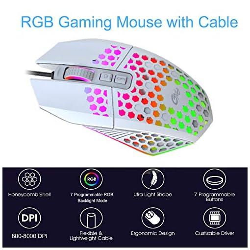 EasyULT Ratón Gaming con Cable, Ratón programables Iluminación RGB, 8000 dpi, 6 dpi Ajustable, Ultraligero Revestimiento… 2