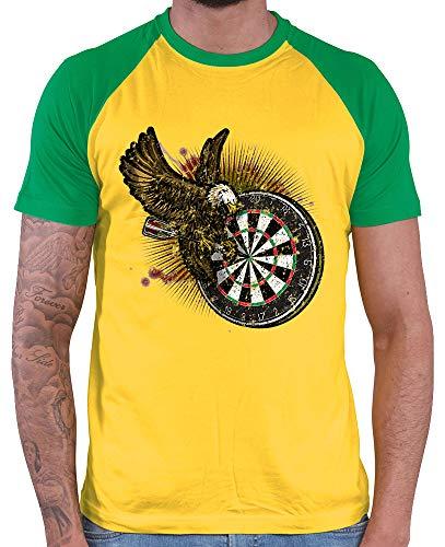 HARIZ Herren Baseball Shirt Dart Adler Bullseyes Dart Sprüche Männer Weltmeisterschaft Plus Geschenkkarten Gold/Kelly Green XL
