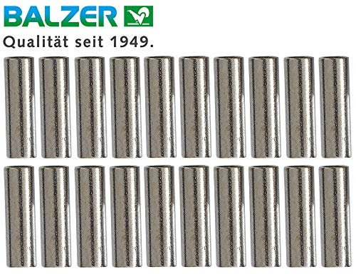 Balzer Quetschhülsen - 20 Klemmhülsen für Stahlvorfächer, Crimphülsen zum Bauen von Raubfischvorfächern, Hülsen für Hechtvorfächer, Durchmesser:1.6mm