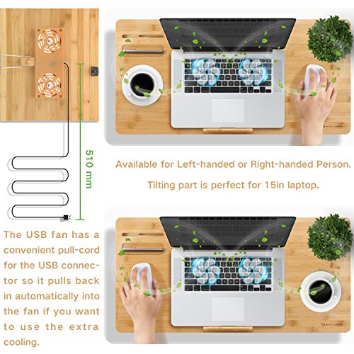 Right-Left Hand Design NNEWVANTE Bamboo Laptop Table Adjustable Lap Tray Large Size Bed Serving Tray Breakfast Table Foldable Notebook Computer Desk Great Heat Dissipation Laptop Desk 2 USB Fans