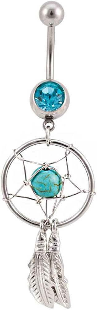 Easyfashion Surgical Steel Blue Crystal Barbell Dream Catcher Dangle Navel Belly Button Ring Body Piercing Jewelry