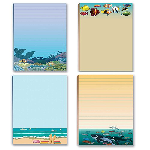 Beach & Ocean Theme Pads - 4 Assorted Note Pads