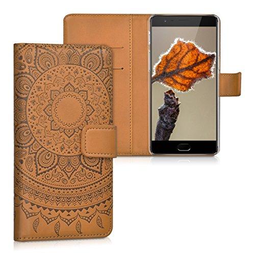 kwmobile Wallet Hülle kompatibel mit OnePlus 3 / 3T - Hülle Kunstleder mit Kartenfächern Stand Indische Sonne Dunkelbraun
