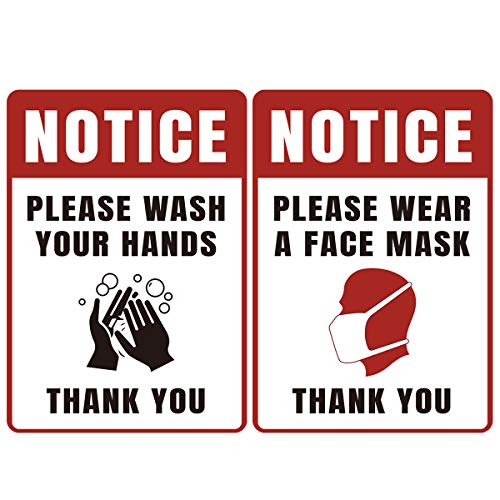 Sign Decal Wear Face Mask-Please Wash Your Hands Sign Sticker 10x7 Inches, Adhesive Vinyl Sticker Public Safety Decal for Grocery Stores Office,Hospitals, Restaurants - 2 Pack (Red)